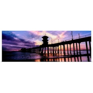 """Huntington Beach Pier at sunset, Huntington Beach, California"" Poster Print"
