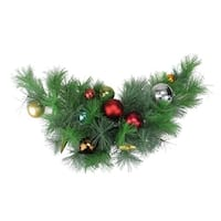 "24"" Pre-Decorated Multi-Color Ornament Long Needle Pine Artificial Christmas Swag - Unlit - multi"