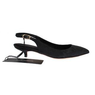 Dolce & Gabbana Black Brocade Kitten Heel Slingbacks Shoes - 35