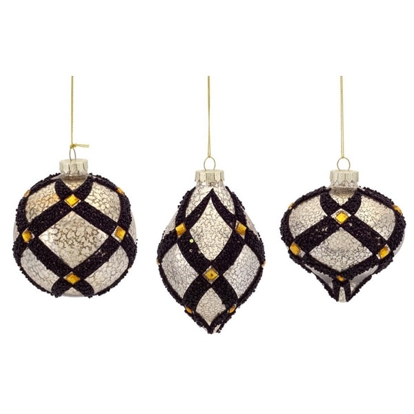 "Mercury Glass Ornament w/Beadwork (3 Asst) 4-8""H Glass - black"