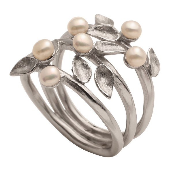 Women's Vining Silver Band 'N Pearls Ring