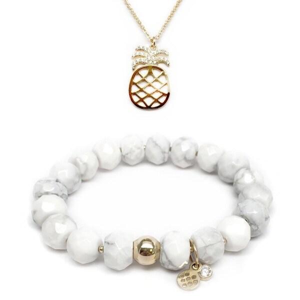 "White Howlite 7"" Bracelet & CZ Pineapple Gold Charm Necklace Set"