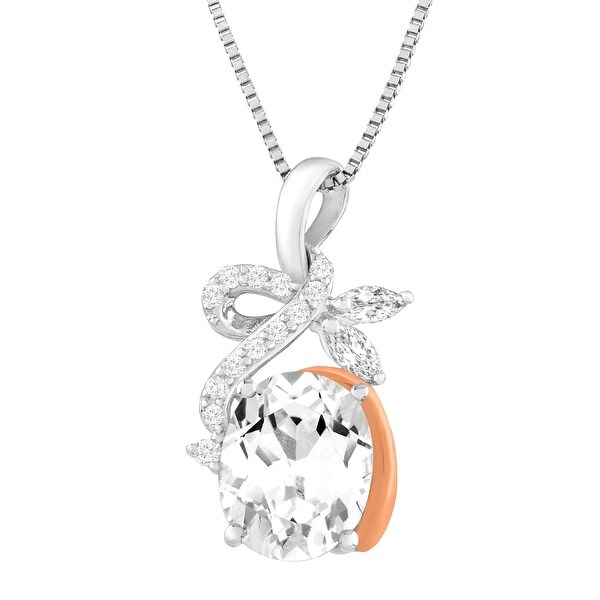 3 7/8 ct Created White Sapphire Pendant in Sterling Silver & 10K Rose Gold