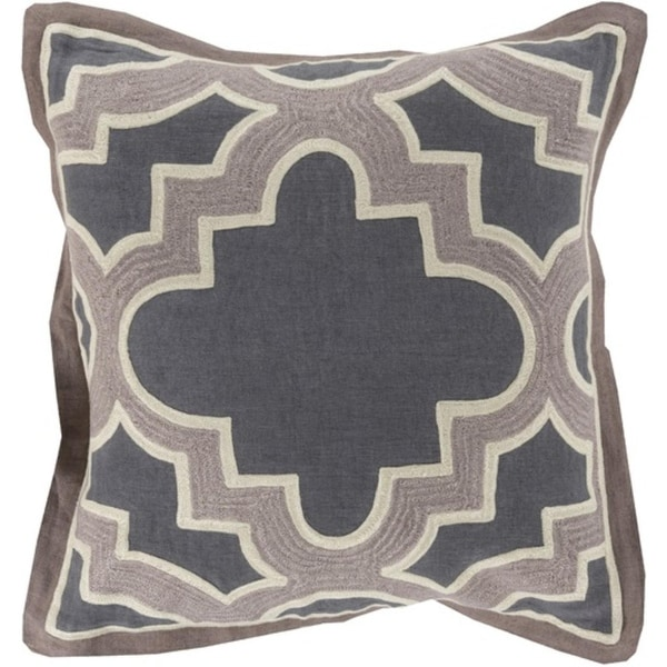 """18"""" Royal Puzzle Arsenic Gray and Almond Decorative Throw Pillow - Polyester Filler"""