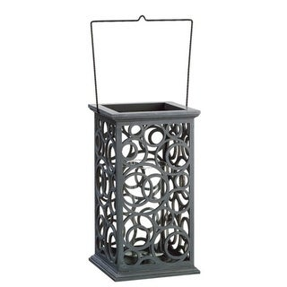 "13"" Gray Brushed Cut-Out Circle Design Pillar Candle Holder"