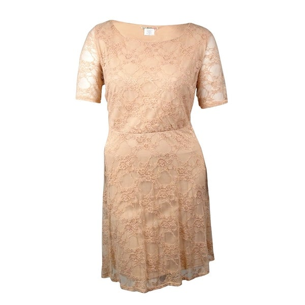 Love Squared Women's Half Sleeves Lace Overlay A-Line Dress
