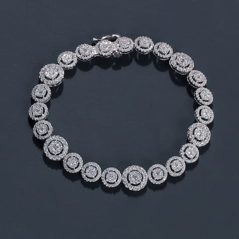 3 ct TDW Diamond Cluster Halo Bracelet in 10k White Gold by De Couer