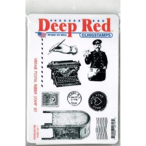 Deep Red Stamps Vintage Postal Rubber Cling Stamp Set - 4 x 6