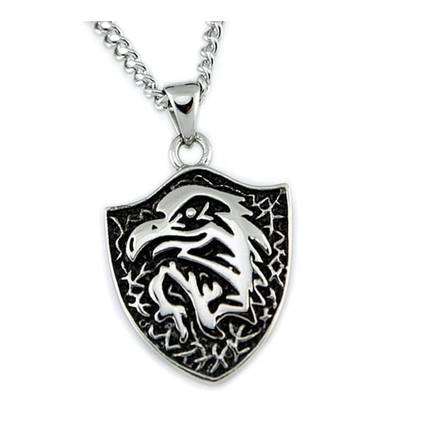 Stainless Steel Men's Eagle Pendant w/ 24 inch Curb Chain
