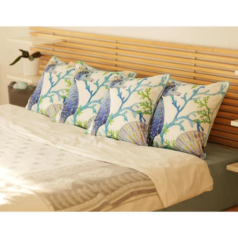Marine Seahorse Decorative Throw Pillow Cover Printed (4 pcs in set)
