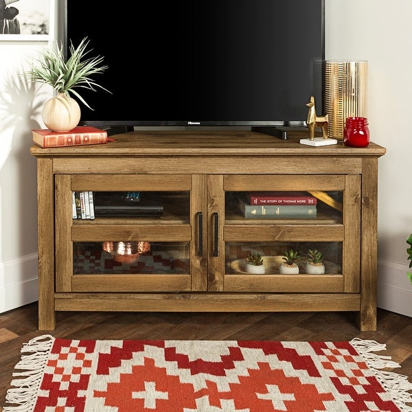 Bow Valley 44-inch Barnwood Corner TV Stand Console. Opens flyout.