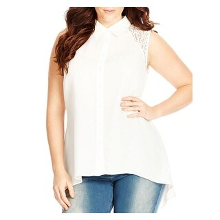City Chic Womens Plus Button-Down Top Chiffon Lace Inset