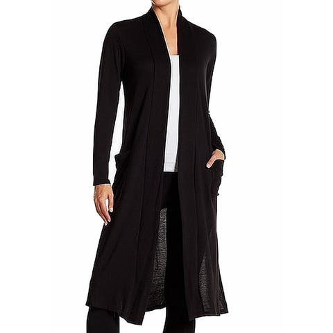 Hiatus Womens Black Size XS Open-Front Pocketed Slit-Sides Cardigan
