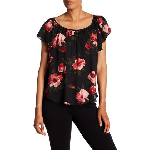 Philosophy Women's Black Size Small S Flutter Sleeve Floral Blouse