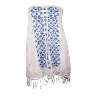 Raviya Women's Fringed-Hem Embroidered Strapless Swim Cover (L, White) - L