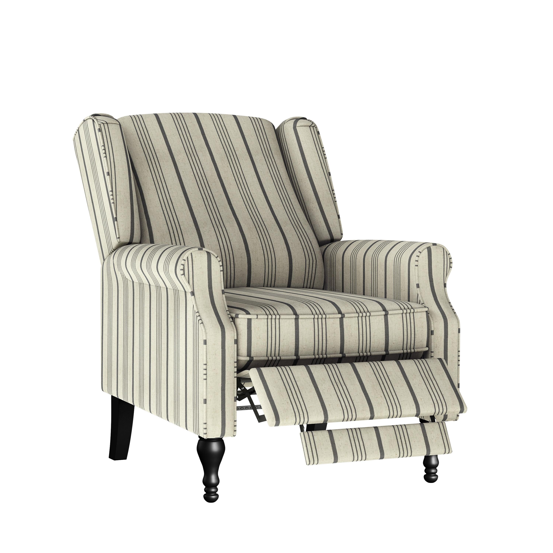 The Gray Barn Hale Linen Farmhouse Woven Stripe Wingback Push Back Recliner Chair Overstock 31276108 Denim Blue Stripe