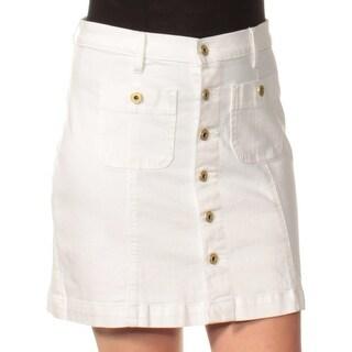 TOMMY HILFIGER $59 Womens New 1368 White Jean Mini A-Line Casual Skirt 6 B+B