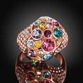 Rainbow Gem-Insert Rose Gold Plated Ring - Thumbnail 3
