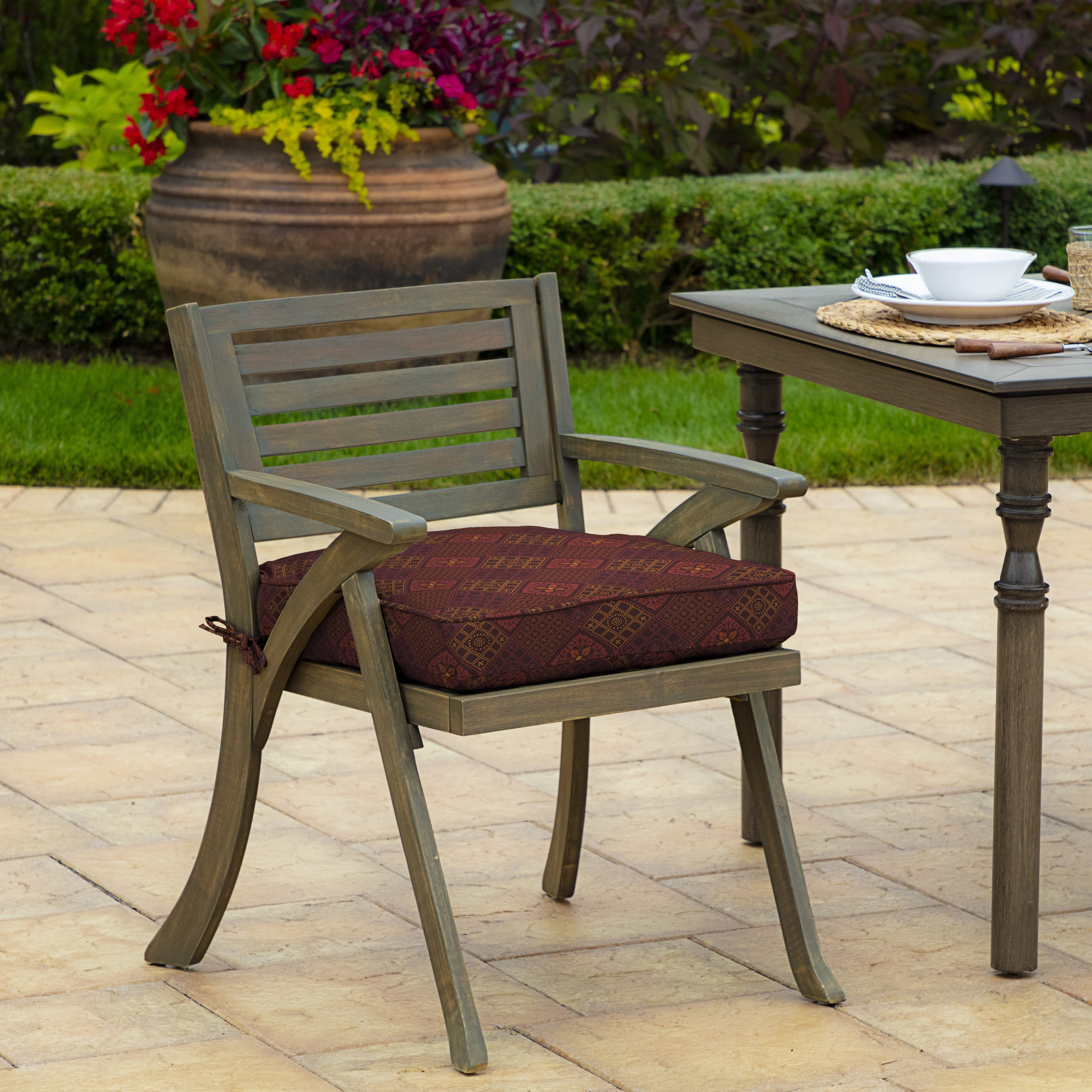 Arden Selections Azulejo Southwest Outdoor Welted Dining Seat Cushion 2 Pack 21 In L X 21 In W X 5 In H Overstock 29628510