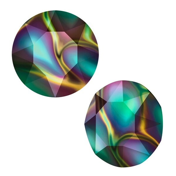 Swarovski Elements Crystal, 1088 Xirius Round Stone Chatons ss39, 6 Pieces, Crystal Rainbow Dark F