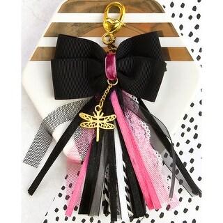 "My Prima Planner Bow Tassel W/Clasp 2.75""X4.75""-Glam Black W/Pink & White"