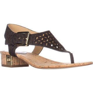 MICHAEL Michael Kors London Thong Lasered Sandals, Brown Logo (2 options available)