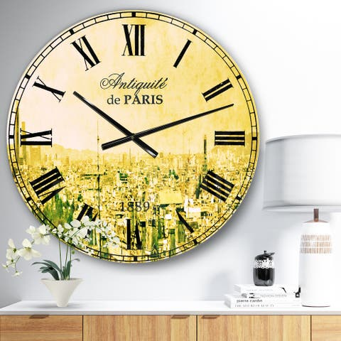 Designart 'Paris Panorama with Scenic Sky' Skyline Wall CLock