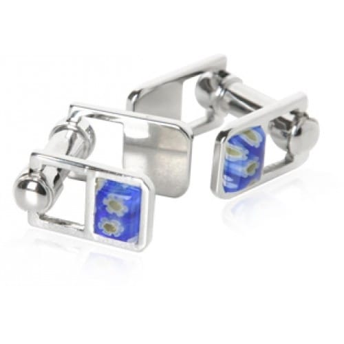 Blue Satin Enamel Cufflinks