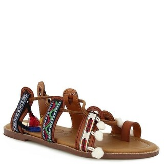 Indios Adult Camel Multi Color Tassel Embellished Thong Sandals