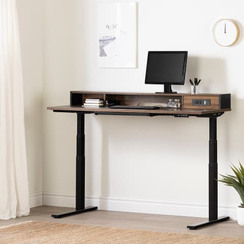 South Shore Talie Adjustable Height Standing Desk with Built In Power Bar