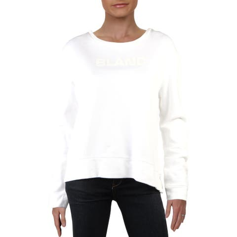 French Connection Womens Blanc Sweatshirt Slogan Crew Neck - White/White - L