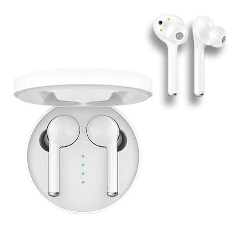 BEAM Buds Pro+ True Fit Wireless Earbud Headphones In-Ear Stereo BT v5.0 (Clear Calls, Smart Touch & Magnetic Case) White