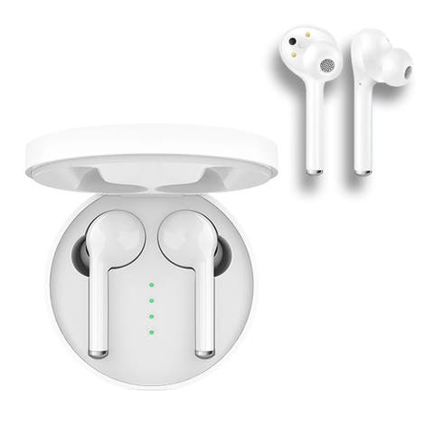 Wireless BEAM Stereo Headphone EarBuds by Indigi® + Mic for Conference Calls - iOS & Android Compatible (Auto Pairing)