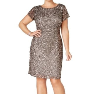 Adrianna Papell NEW Gray Womens Size 14W Plus Sheath Embellished Dress