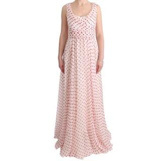 Dolce & Gabbana Dolce & Gabbana White Red Polka Dotted Silk Dress - it40-s