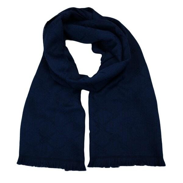 Versace SC54 STCK 002 100% Wool Navy Blue Mens Scarf - 14.5-72