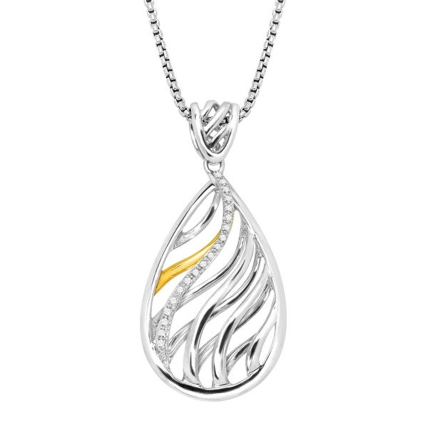 Cage Drop Pendant with Diamonds in Sterling Silver & 14K Gold