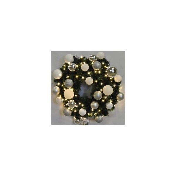 Christmas at Winterland WL-GWSQ-02-ICE-LWW 2 Foot Pre-Lit Warm White Sequoia Wreath Decorated with Ice Ornaments Indoor /