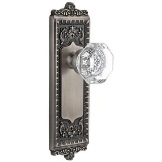 "Grandeur WINCHM_PSG_234  Windsor Solid Brass Rose Passage Door Knob Set with Chambord Crystal Knob and 2-3/4"" Backset"
