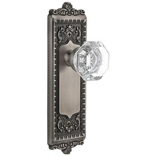 "Grandeur WINCHM_PSG_238  Windsor Solid Brass Rose Passage Door Knob Set with Chambord Crystal Knob and 2-3/8"" Backset"