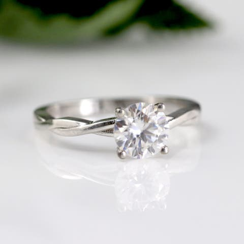 Auriya 14k Gold Twisted 2ctw Round Solitaire Moissanite Engagement Ring