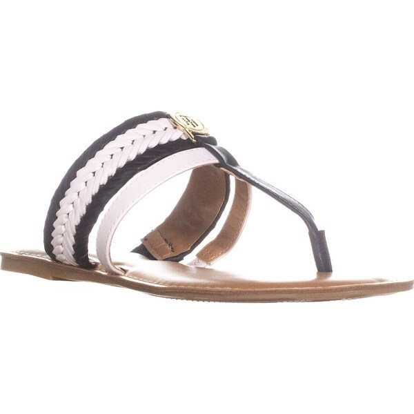 Tommy Hilfiger Lady T-Strap Braided Slide Flat Sandals, Medium Blue - 7.5 us