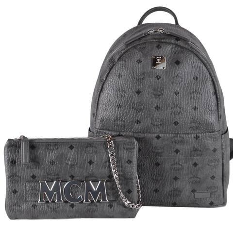 MCM Grey Diamond Visetos Trilogie Stark Backpack W/Shoulder Bag