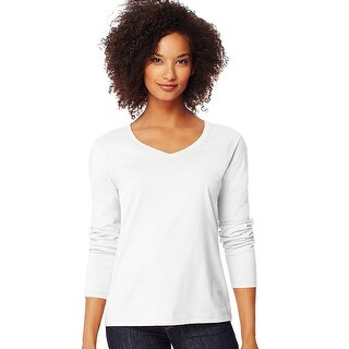 Hanes Women's Long-Sleeve V-Neck T-Shirt - Size - M - Color - White