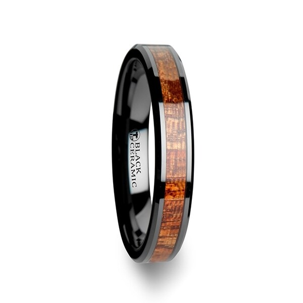 THORSTEN - GABON Black Ceramic Band with Polished Bevels and Exotic Mahogany Hard Wood Inlay - 4mm