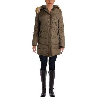 DKNY Womens Faux Fur Down Parka