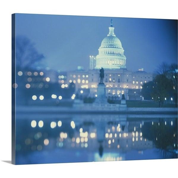Premium Thick-Wrap Canvas entitled Dusk US Capitol Building Washington DC -  Multi-color