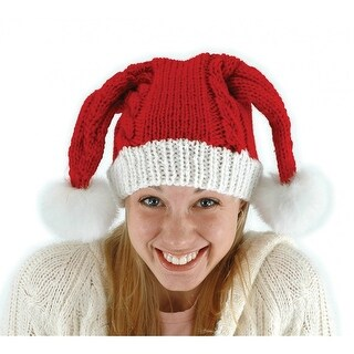 Knit Santa Claus Adult Red Hat Costume Accessory One Size