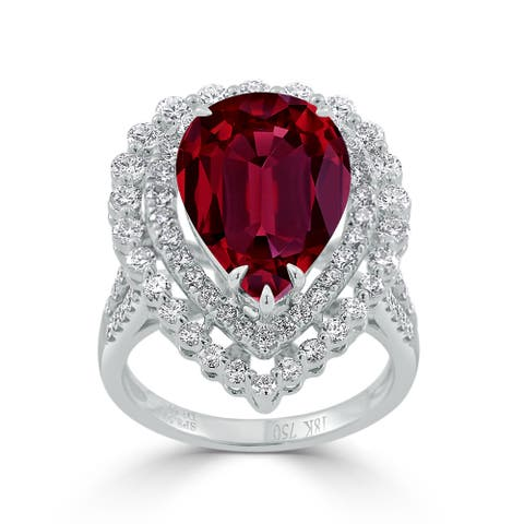 Auriya 9 5/8ct Pear-cut Red Ruby and Halo Diamond Ring 1 5/8cttw 18K Gold