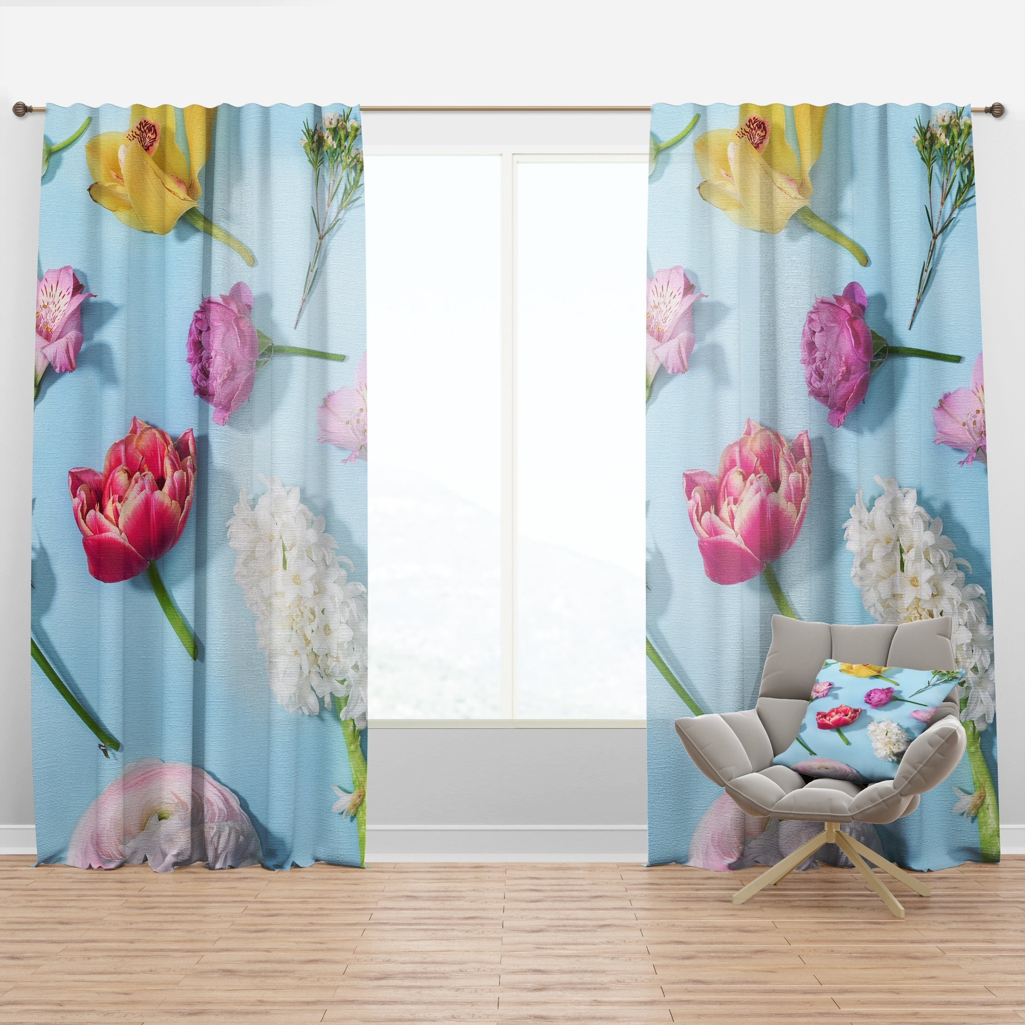 Designart Fresh Beautiful Blooming Flowers Floral Curtain Panel Overstock 29625724